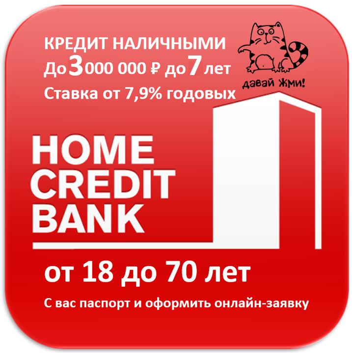 Кредит наличными от Банка Хоум Кредит